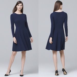 WHBM navy long sleeve a line button shoulder